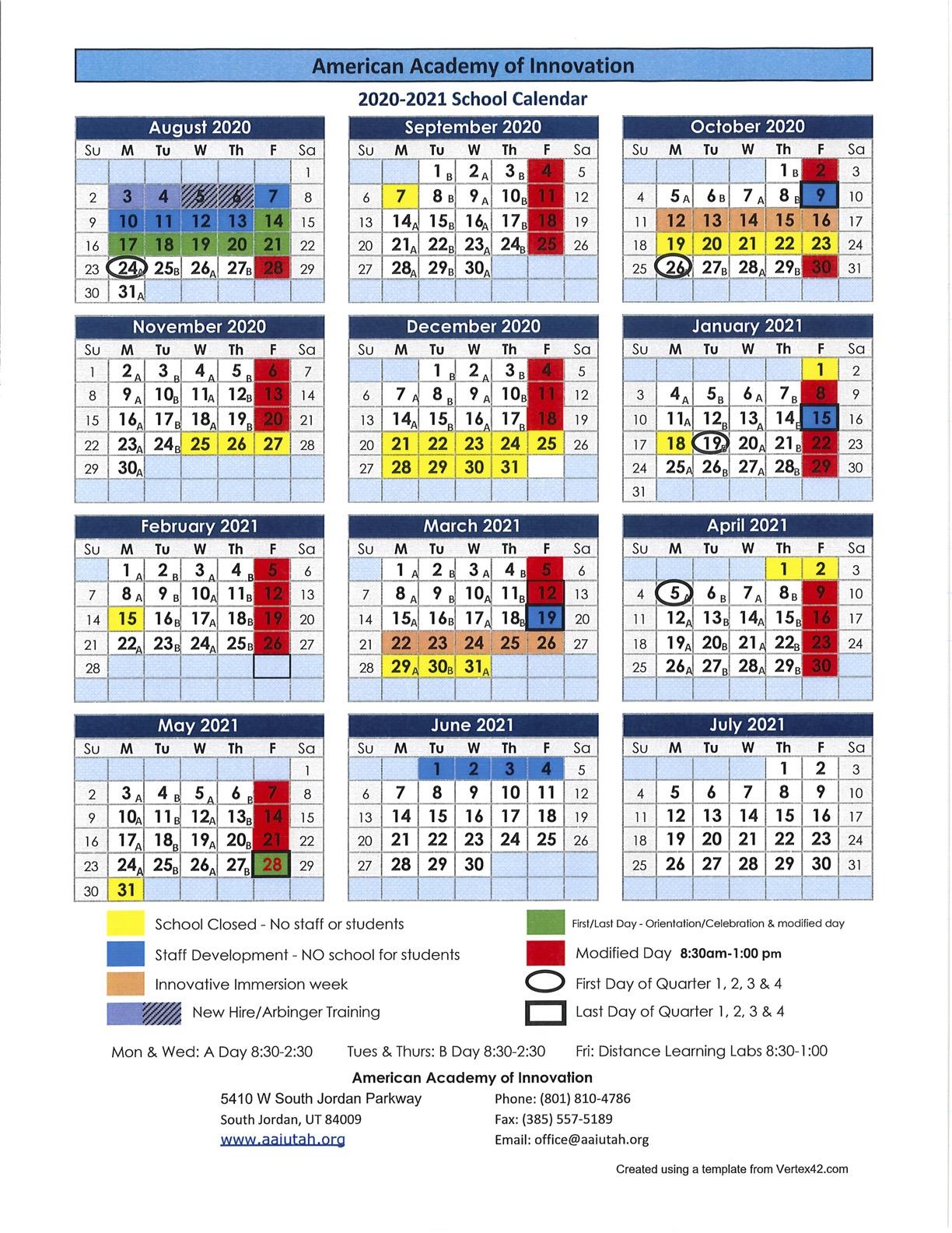 Uvu Fall 2022 Calendar.Academic Calendar American Academy Of Innovation